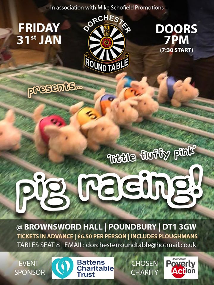dorchester round table pig racing poster 2020
